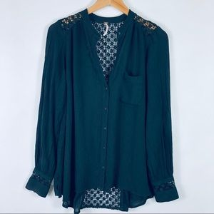 Free People The Best Button Front Blouse Black S